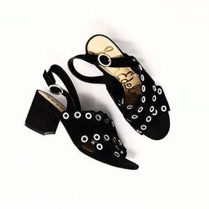 Sam Edelman Seana Black Suede  Grommet Block Heels